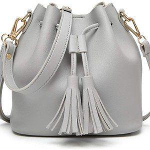 Womens Mini Bucket Bag Leather Drawstring Purse